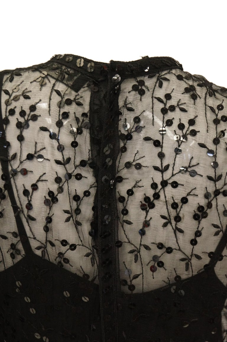 1980s Chanel Sheer Black Silk Evening Dress with Floral Embroidery and Sequins For Sale 5