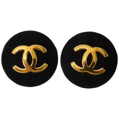 1980s Chanel Suede CC Button Earrings