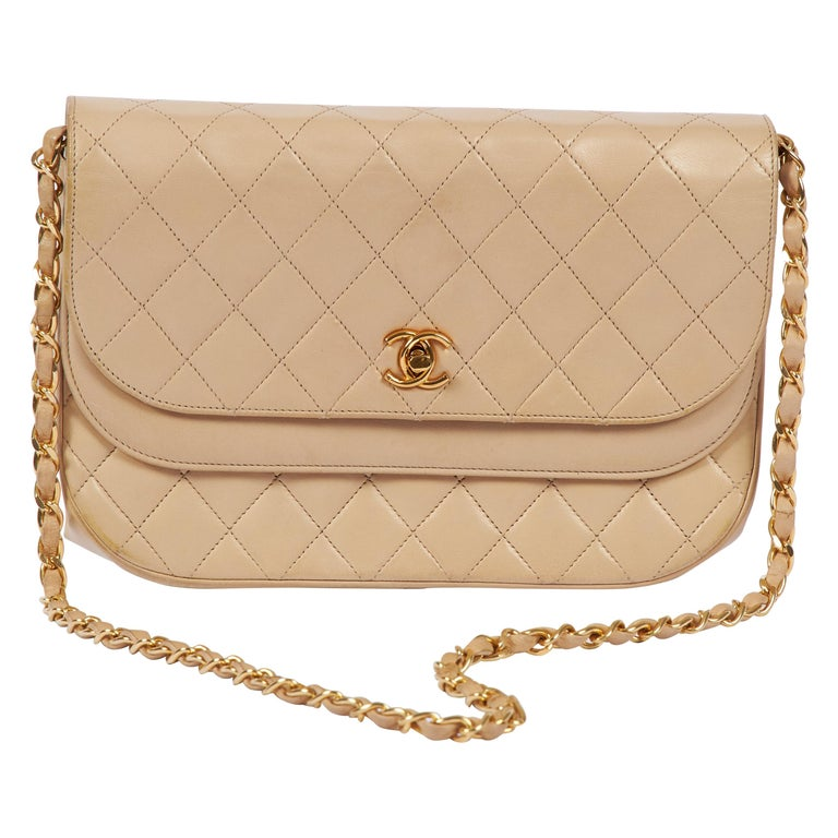 1980's Chanel Vintage Beige Double Flap Quilted Bag For Sale
