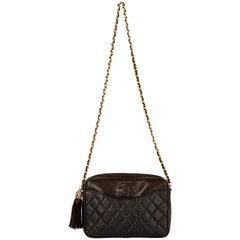 1980s Chanel Vintage Brown Lambskin Shoulder Bag