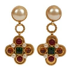 1980's Chanel Vintage Gripoix Maltese Cross Earrings