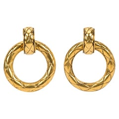 1980's Chanel Vintage Quilted Doorknocker Earrings