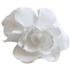 1980s Chanel White Camellia Flower Brooch