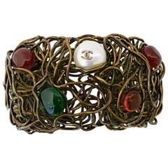 1980s Chanel Wire Cuff with Multi Coloured Cabochons and Pearls