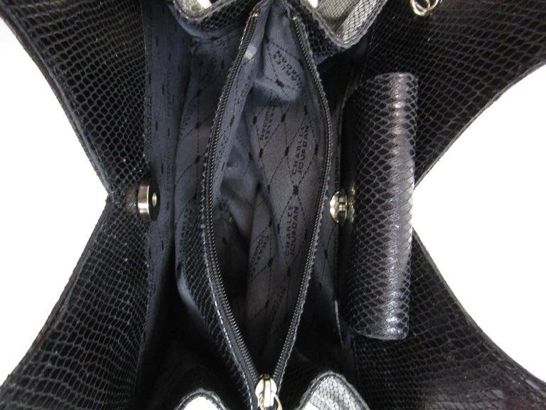 Women's 1980's Charles Jourdan structured black lizard leather handbag  For Sale
