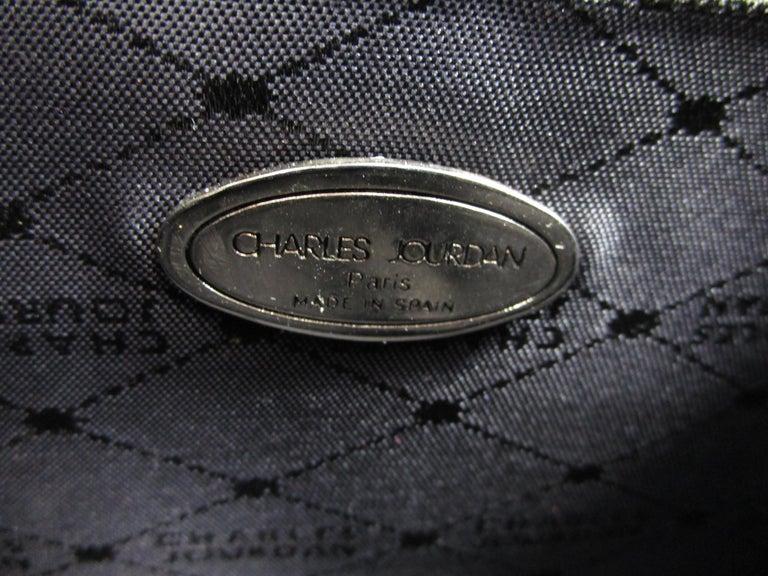 1980's Charles Jourdan structured black lizard leather handbag  For Sale 3