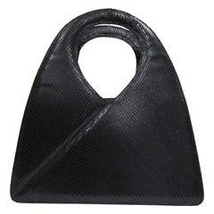 1980's Charles Jourdan structured black lizard leather handbag
