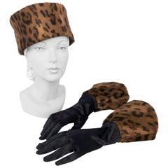 1980's Cheetah Print Pillbox Hat with Matching Gloves
