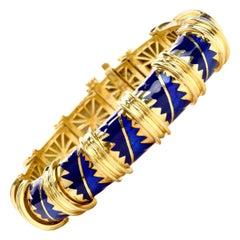 MAVITO 1980s Chic Blue Enamel 18 Karat Yellow Gold Bangle Bracelet