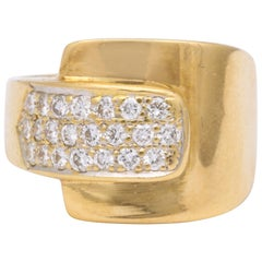 1980s Chic Buckle Design Diamonds and High Polish Gold Band Ring