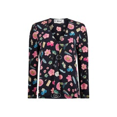 1980s Chloé Novelty Printed Silk Floral Blouse