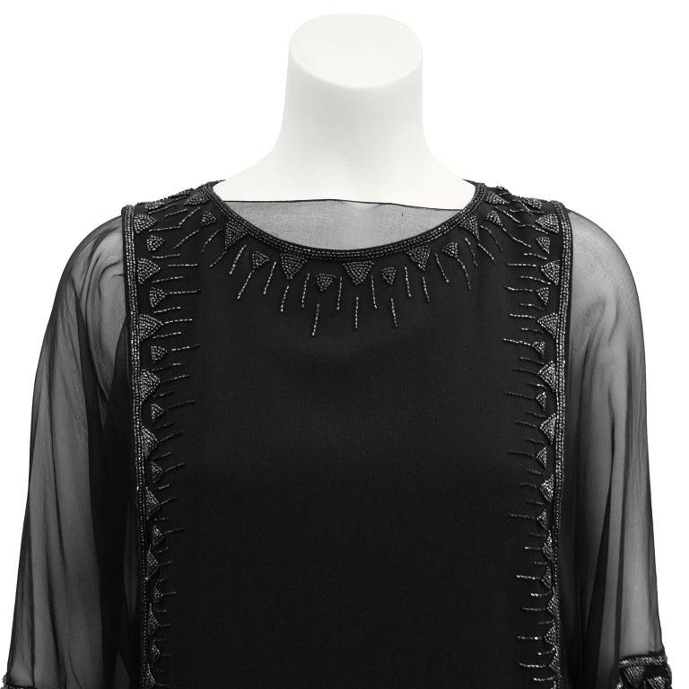 Women's 1980s Chloe Sheer Black Beaded Cocktail Dress  For Sale