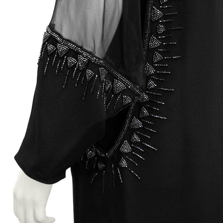 1980s Chloe Sheer Black Beaded Cocktail Dress  For Sale 1