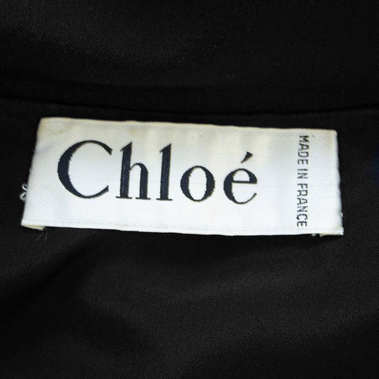 1980s Chloe Sheer Black Beaded Cocktail Dress  For Sale 2