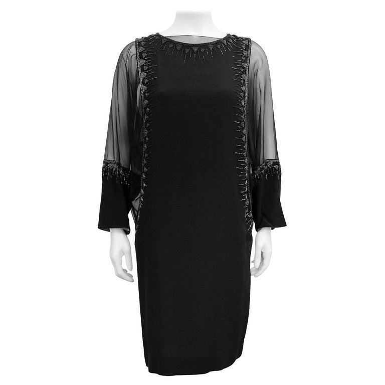 1980s Chloe Sheer Black Beaded Cocktail Dress  For Sale