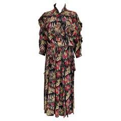 1980s Chloe Silk Print Dress with nehru collar.