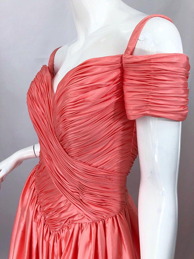 1980s Chris Kole Coral Pink Size 6 Off the Shoulder Silk Taffeta Vintage Gown For Sale 6