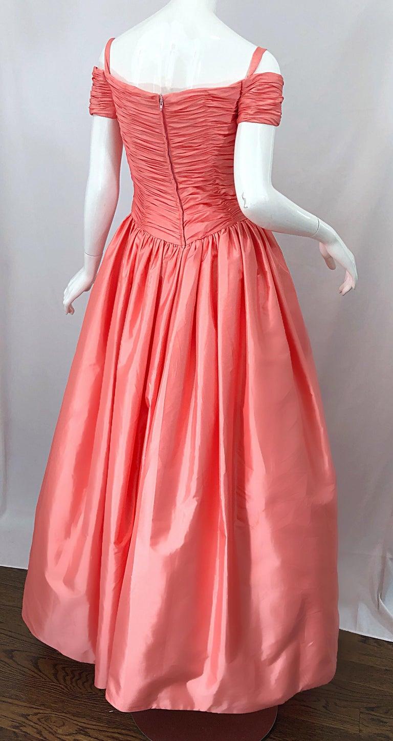 1980s Chris Kole Coral Pink Size 6 Off the Shoulder Silk Taffeta Vintage Gown For Sale 8