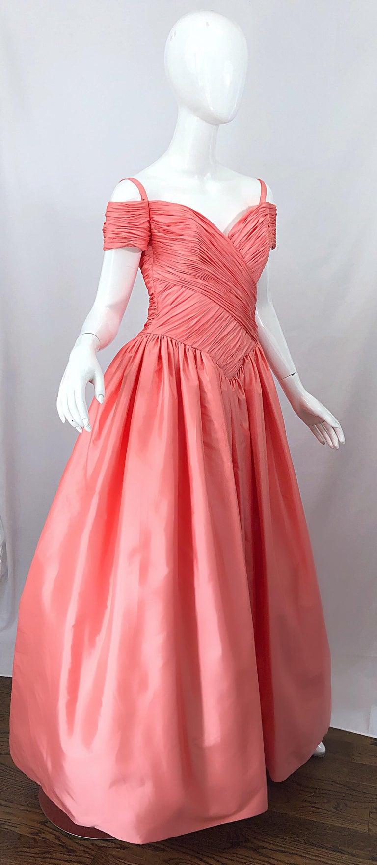 1980s Chris Kole Coral Pink Size 6 Off the Shoulder Silk Taffeta Vintage Gown For Sale 9