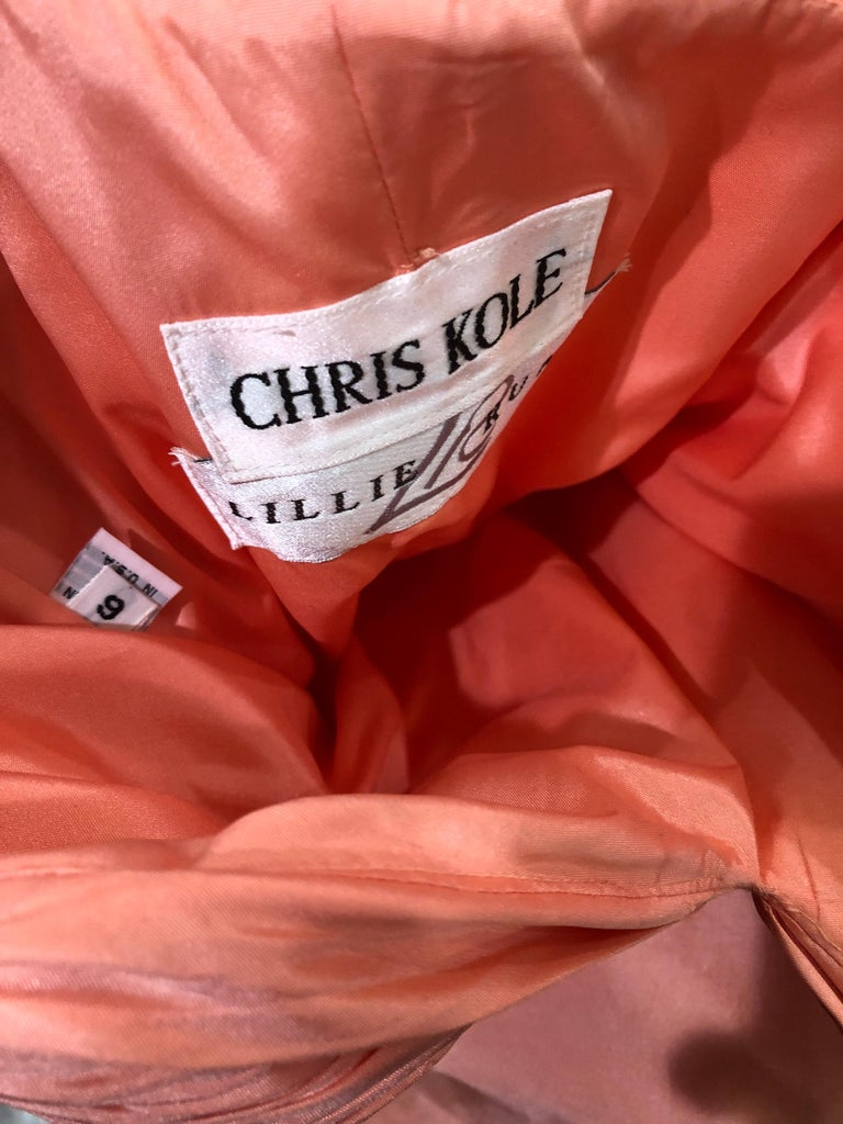 1980s Chris Kole Coral Pink Size 6 Off the Shoulder Silk Taffeta Vintage Gown In Good Condition For Sale In Chicago, IL