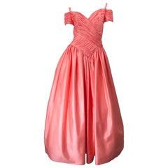 1980s Chris Kole Coral Pink Size 6 Off the Shoulder Silk Taffeta Vintage Gown