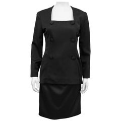 1980s Christian Dior Black Fine Wool Tuxedo Dress