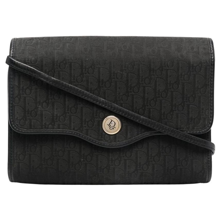1980s Christian Dior Black on Black Oblique Monogram Logo Shoulder Bag