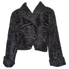 1980's Christian Dior Boutique Broadtail Fur Cropped Jacket