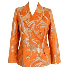 1980s Christian Dior Boutique Orange Chanto Silk Evening Double Breasted Jacket