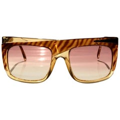 1980s Christian Dior Bowie Amber Animal Print Oversized Sunglasses