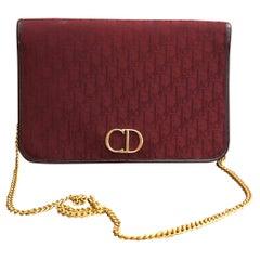 1980s Christian Dior Burgundy Trotter Jacquard Chain Shoulder Bag
