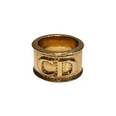 1980s  Christian Dior Gold Tone Metal Scarf Ring
