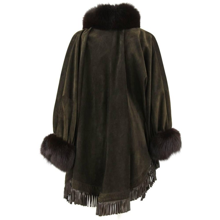 1980s Christian Dior Greenish Brown Suede Cape Coat Trimmed with Fox Fur For Sale 1