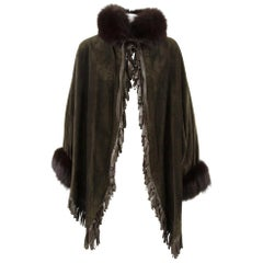 1980s Christian Dior Greenish Brown Suede Cape Coat Trimmed with Fox Fur