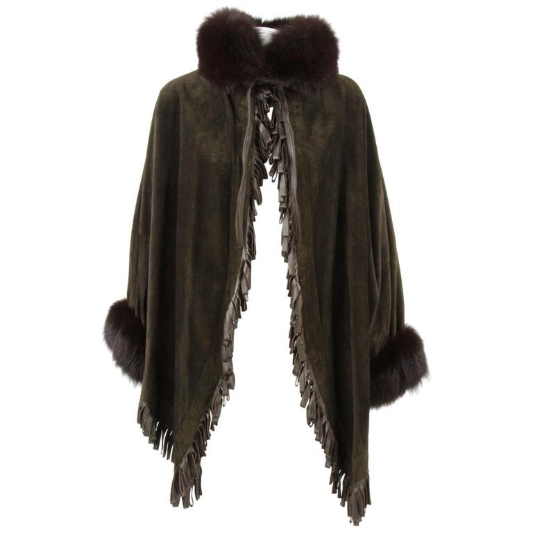 1980s Christian Dior Greenish Brown Suede Cape Coat Trimmed with Fox Fur For Sale