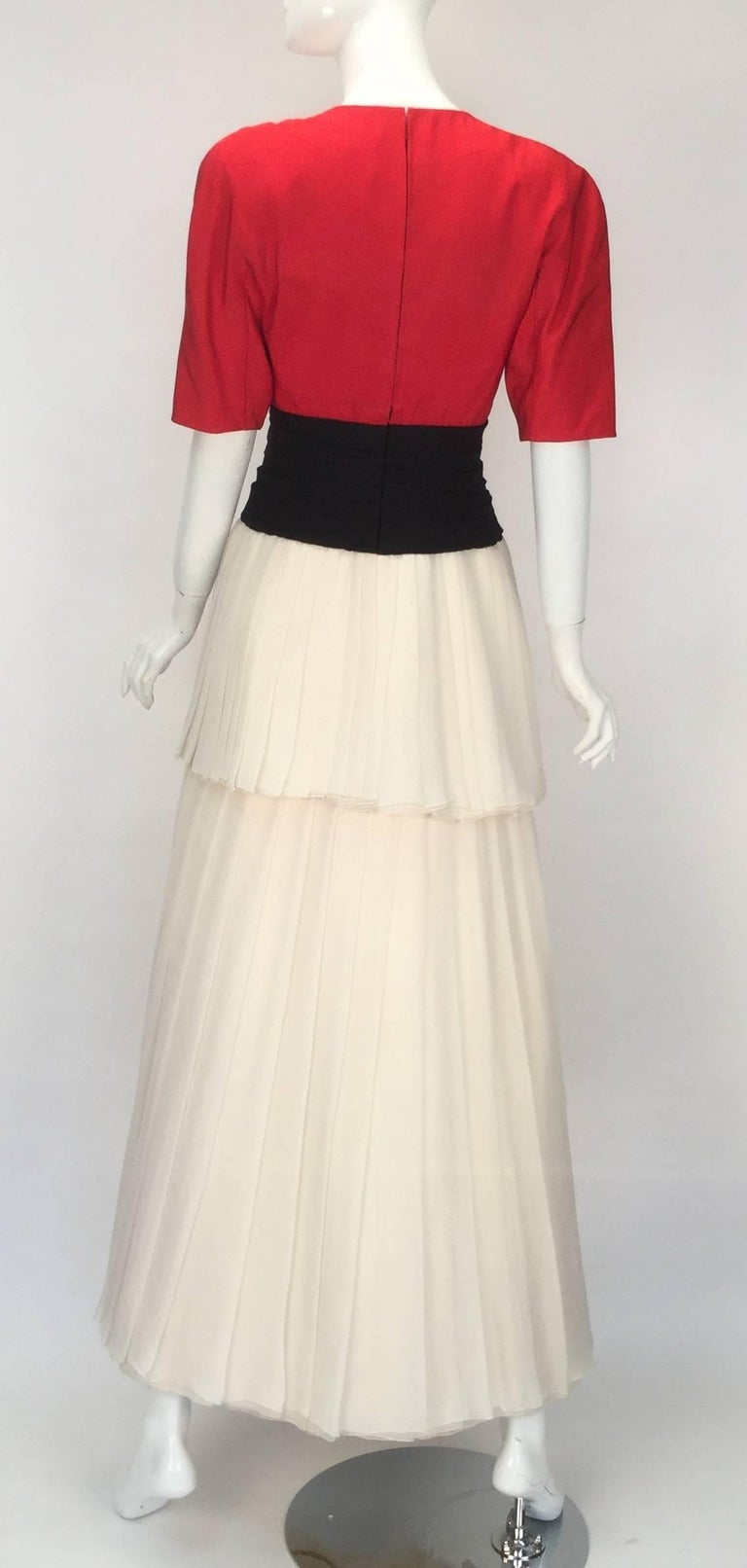 1980s Christian Dior Haute Couture Silk Evening Dress In Excellent Condition For Sale In Houston, TX