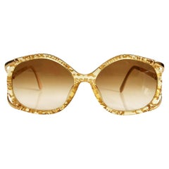 1980s Christian Dior Oversized Gold See-Through Sunglasses