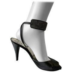 1980s Christian Dior Peau De Soie Ankle-Strap Open-Toe Pumps W/ Rhinestone Trim