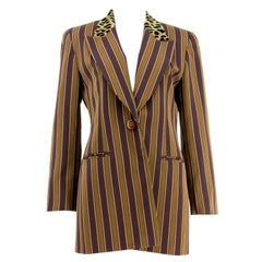 1980s Christian Dior Striped Blazer with Leopard Collar