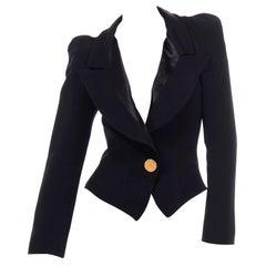 1980s Christian Lacroix Black Blazer W Puff Gathered Shoulders & Gold Button