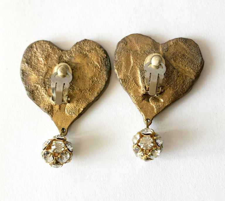 Mirrored heart earrings designed and created by Christian Lacroix for his Luxe Collection, 1987.  Clipback earrings measure 2.5