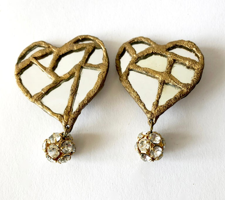 Artisan 1980s Christian Lacroix French Luxe Collection Runway Mirrored Heart Earrings For Sale