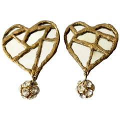 1980s Christian Lacroix French Luxe Collection Runway Mirrored Heart Earrings
