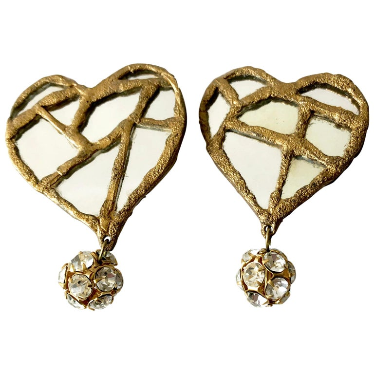 1980s Christian Lacroix French Luxe Collection Runway Mirrored Heart Earrings For Sale