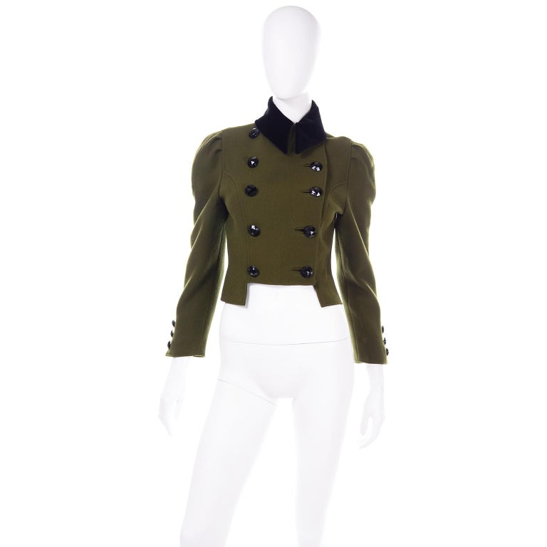 Women's 1980s Christian Lacroix Green Wool Double Breasted Jacket w/ Black Velvet Collar For Sale