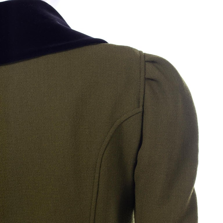 1980s Christian Lacroix Green Wool Double Breasted Jacket w/ Black Velvet Collar For Sale 4