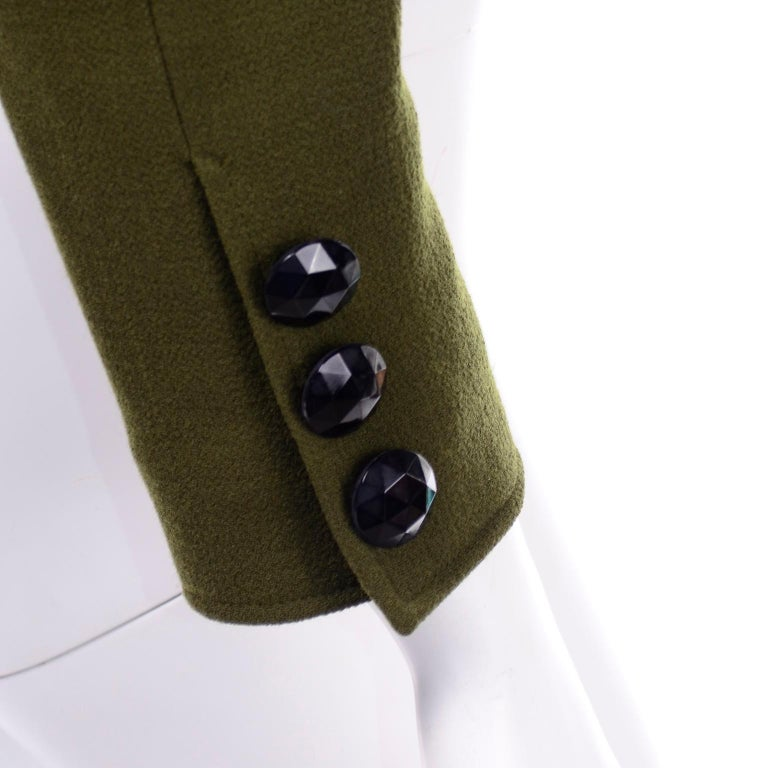 1980s Christian Lacroix Green Wool Double Breasted Jacket w/ Black Velvet Collar For Sale 5