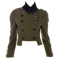 1980s Christian Lacroix Green Wool Double Breasted Jacket w/ Black Velvet Collar