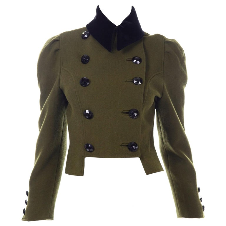 1980s Christian Lacroix Green Wool Double Breasted Jacket w/ Black Velvet Collar For Sale