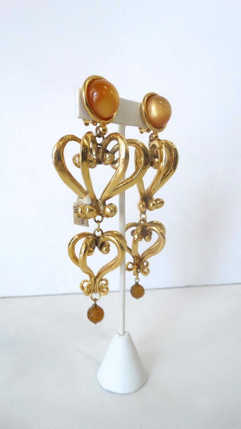 1980s Christian Lacroix Runway Gold Baroque Heart Earrings  In Good Condition For Sale In Scottsdale, AZ